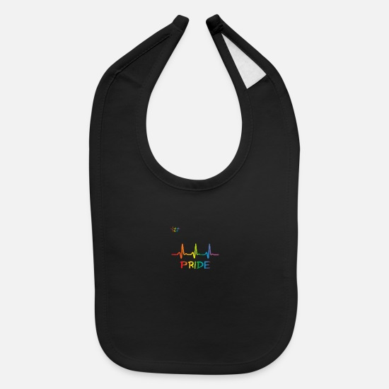 Rainbow Baby Clothing - Lgbt Rainbow Heartbeat, Pride Ecg Pulse - Baby Bib black