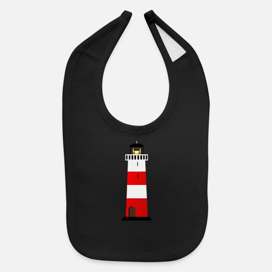 Maritime Baby Clothing - leuchtturm lighthouse coast kueste ocean sea meer2 - Baby Bib black