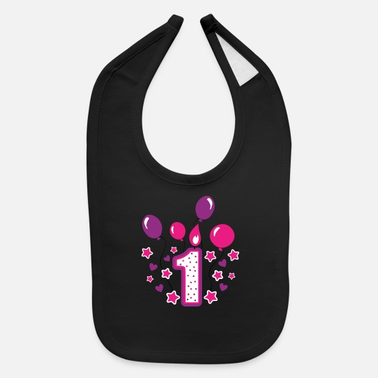 Birthday Baby Clothing - First birthday girl 1st birthday toddler gift - Baby Bib black