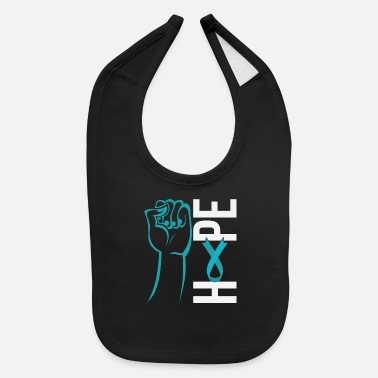 Ribbon Ovarian Cancer Awareness Support Suvivor Hope Teal - Baby Bib