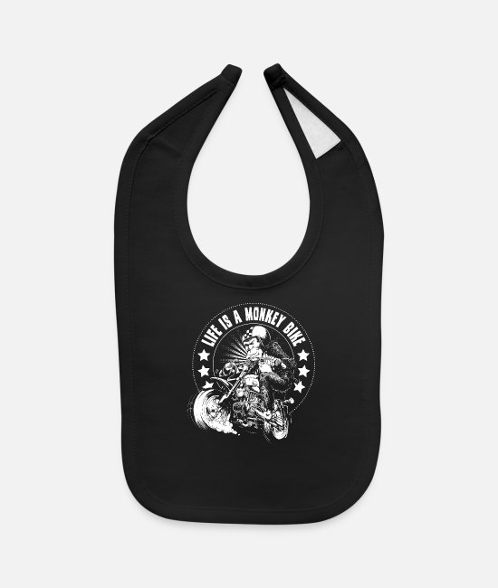 Motorcycle Baby Bibs - Monkey Bike - Baby Bib black