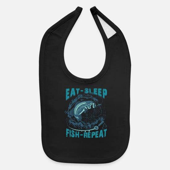 Fishing Baby Clothing - Eat Sleep Fish Repeat - Funny Fishing - Baby Bib black