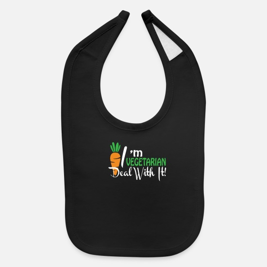 With Baby Clothing - Im A Vegetarian Deal With It Vegetarian - Baby Bib black