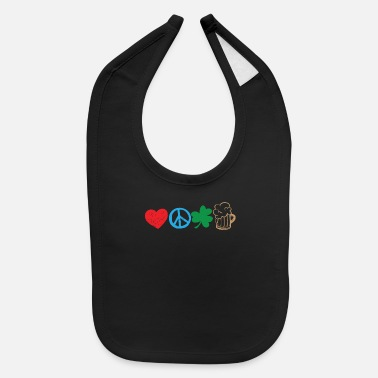 St Patricks Day St Patricks Day Love Peace Shamrock and Beer - Baby Bib