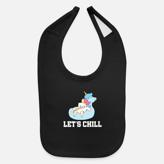Hunting Baby Clothing - Chill Unicorn Cat Gift Chillax - Baby Bib black