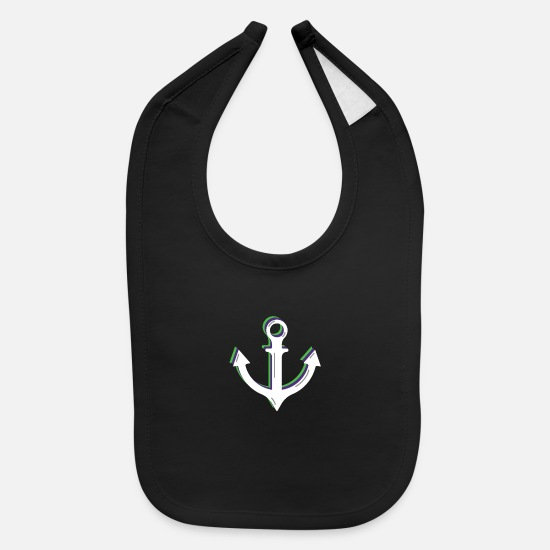 Gift Idea Baby Clothing - Anchor Lighthouse Lake Ahoi Sea Sailing - Baby Bib black