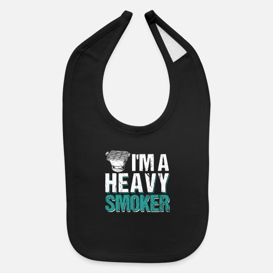 Bbq Baby Clothing - I'm A Heavy Smoker BBQ Barbeque - Baby Bib black