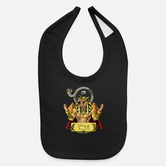 Ancient Baby Clothing - Egyptian God Ra Ancient Sun Mythology - Baby Bib black