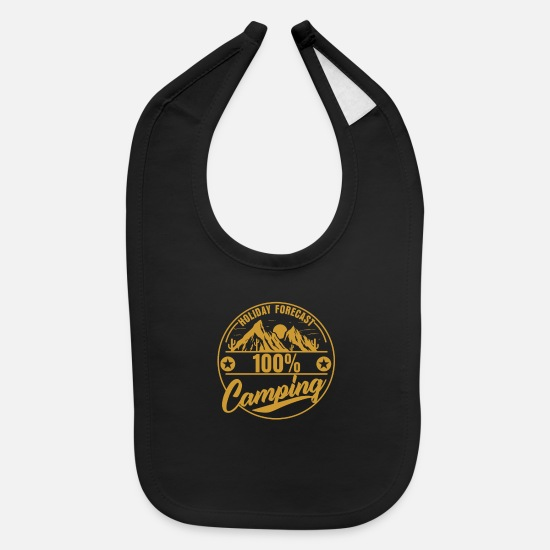 Gift Idea Baby Clothing - Camping Camper Mountains Tent Gift - Baby Bib black