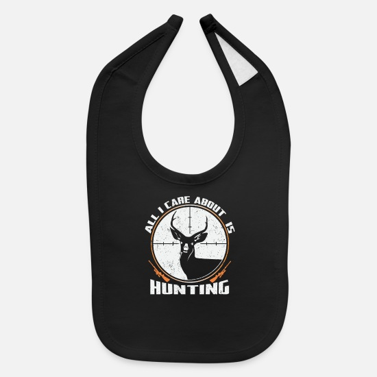 Gift Idea Baby Clothing - Hunting Hunter Hunting Papa Rifle Forest - Baby Bib black