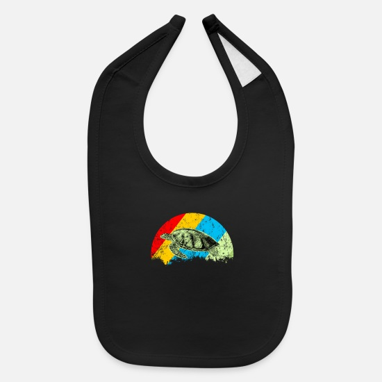 Water Baby Clothing - Turtle retro reptile vintage - Baby Bib black