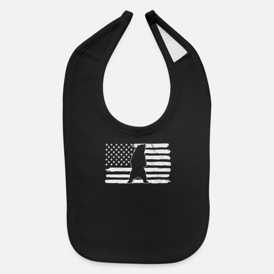 Usa Baby Clothing - Bear US Flag - Baby Bib black