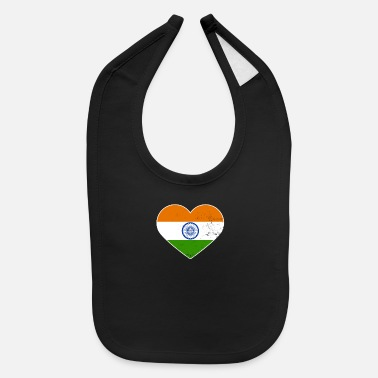 American Indian India Flag Patriotic Pride Heart Gift - Baby Bib