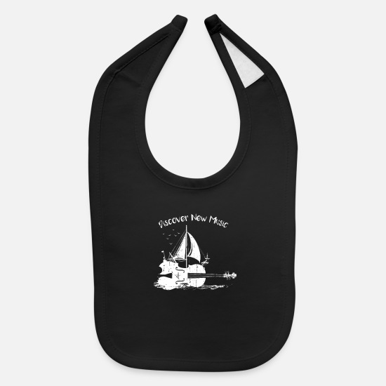 Gift Idea Baby Clothing - Violin Sailboat Music Musician Gift - Baby Bib black