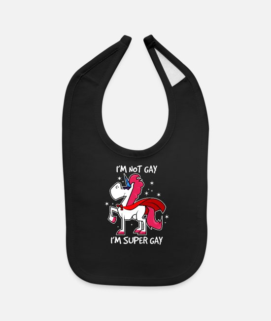 Gay Pride Baby Clothing - Super Gay - Baby Bib black