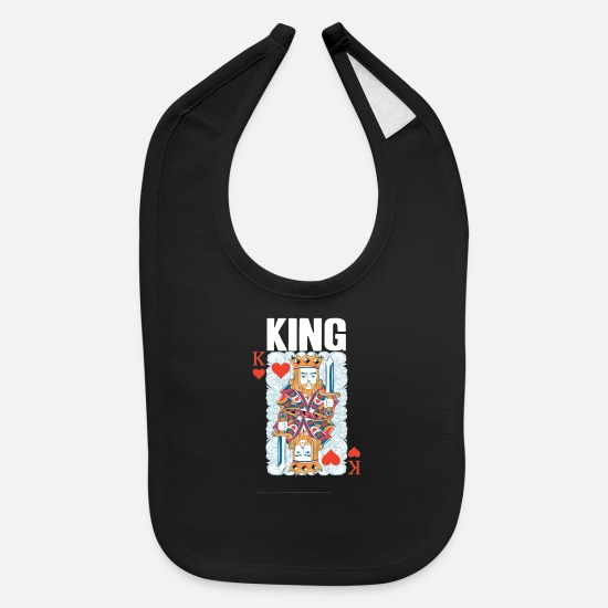 Gift Idea Baby Clothing - King Heart Poker Gamecard Design - Baby Bib black