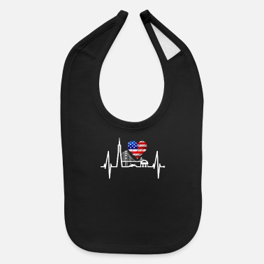 Fan Article San Francisco Heartbeat Skyline California US Flag - Baby Bib