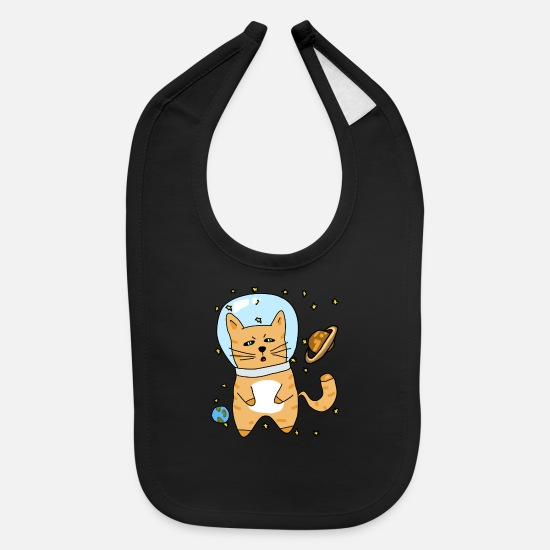 Space Baby Clothing - Space Cat - Baby Bib black