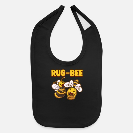 Beekeeper Baby Clothing - Funny RugBees Playing Rugby - Baby Bib black