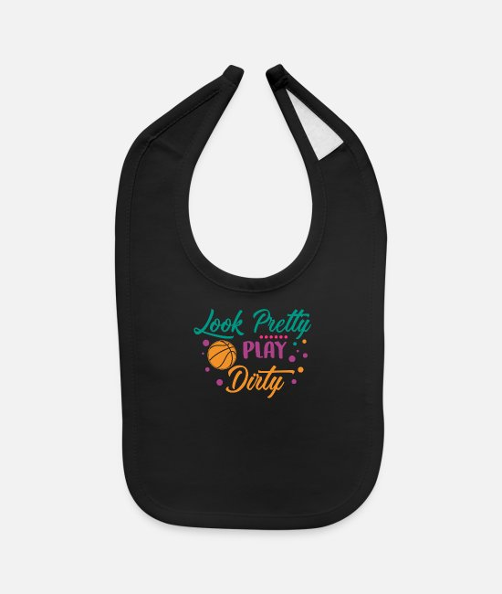 Slam Dunk Baby Clothing - Basketball Clip Art Look Pretty Play Dirty - Baby Bib black