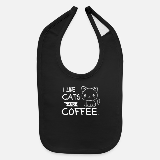 Coffee Bean Baby Clothing - I Like Cats And Coffee - Baby Bib black