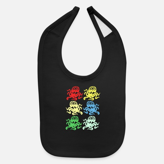 Deep Sea Baby Clothing - Squid Octopus Tentacle Ink Calamari Ocean Oracle - Baby Bib black