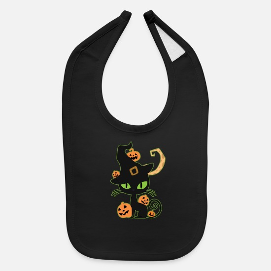Gift Idea Baby Clothing - Witches Cat - Baby Bib black