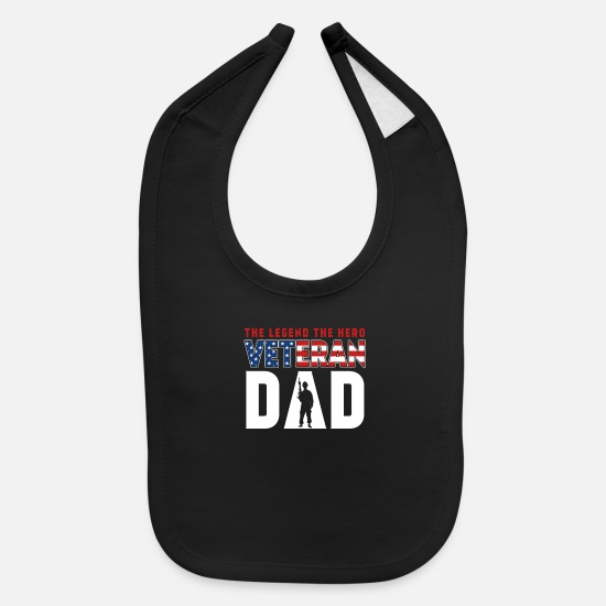 Usa Baby Clothing - The Legend the Hero Veteran Dad - Baby Bib black