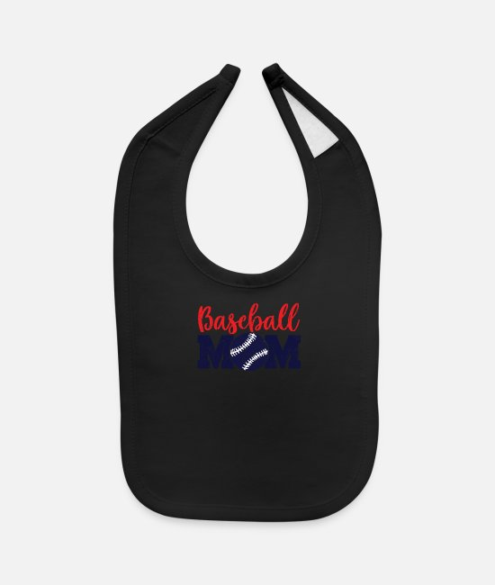 Catcher Baby Bibs - Red White and Blue Baseball Mom - Baby Bib black
