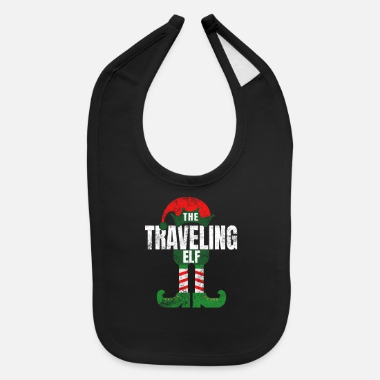 Christmas Baby Clothing - Traveling Elf Christmas Matching Family Pajamas - Baby Bib black