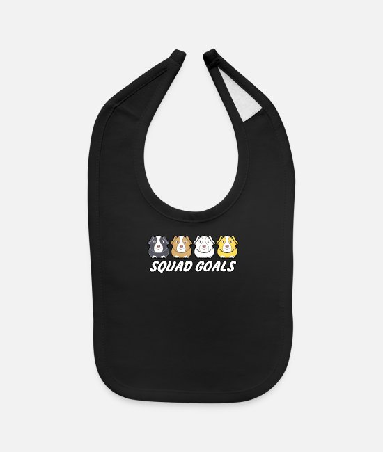 Brown Baby Bibs - Squad goals guinea pigs gray brown white gold gift - Baby Bib black