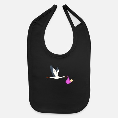 Stork Stork brings baby - pink cloth with baby - Baby Bib