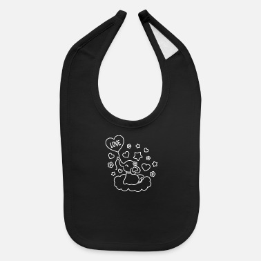 Elephant Love Balloon Elephant Line Art - Baby Bib