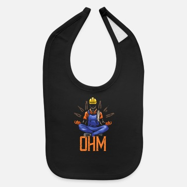 Worker Ohm Meditating Electrician Construction - Baby Bib