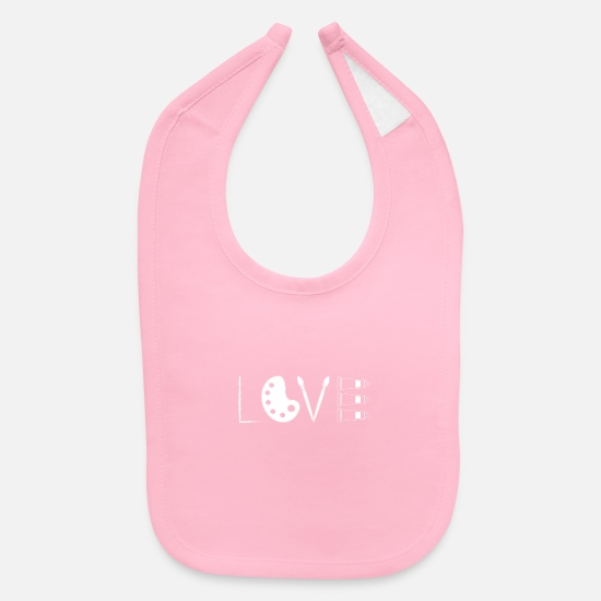 Paint Baby Clothing - Love Painting Oval Palette Paint Brushes - Baby Bib light pink
