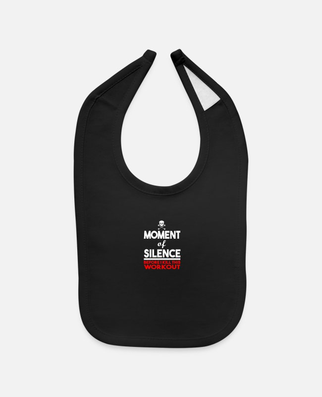 Silence Baby Bibs - MOMENT OF SILENCE HUMOUR LOGO - Baby Bib black