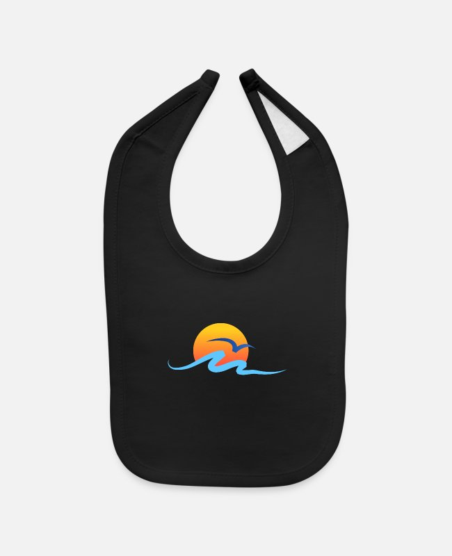 Water Baby Bibs - Summer - Wave - Design - Water - Vacation - Baby Bib black