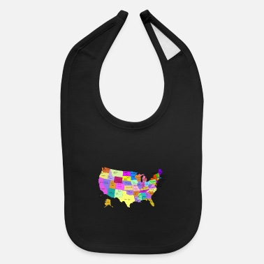 State Capital United States Map With Capitals (Fixed) - Baby Bib