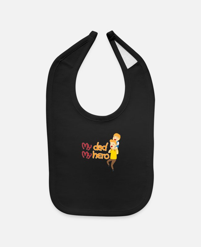 Father And Son Baby Bibs - Son and father whit text My dad My hero - Baby Bib black