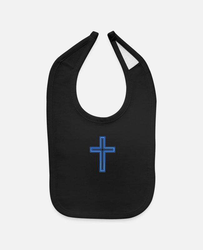 Church Baby Bibs - Cross Long Blue Dark-Whit - Baby Bib black