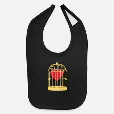 Cage CAGED HEART - HEART IN A GOLDEN CAGE - Baby Bib