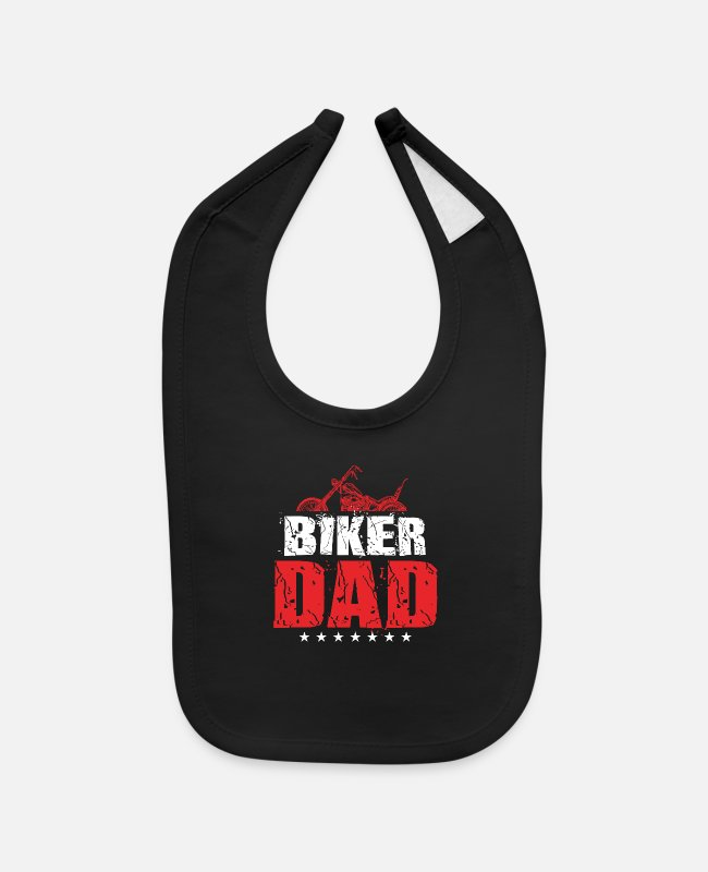 Father's Day Baby Bibs - Biker Daddy Daddy Motorcycle - Baby Bib black