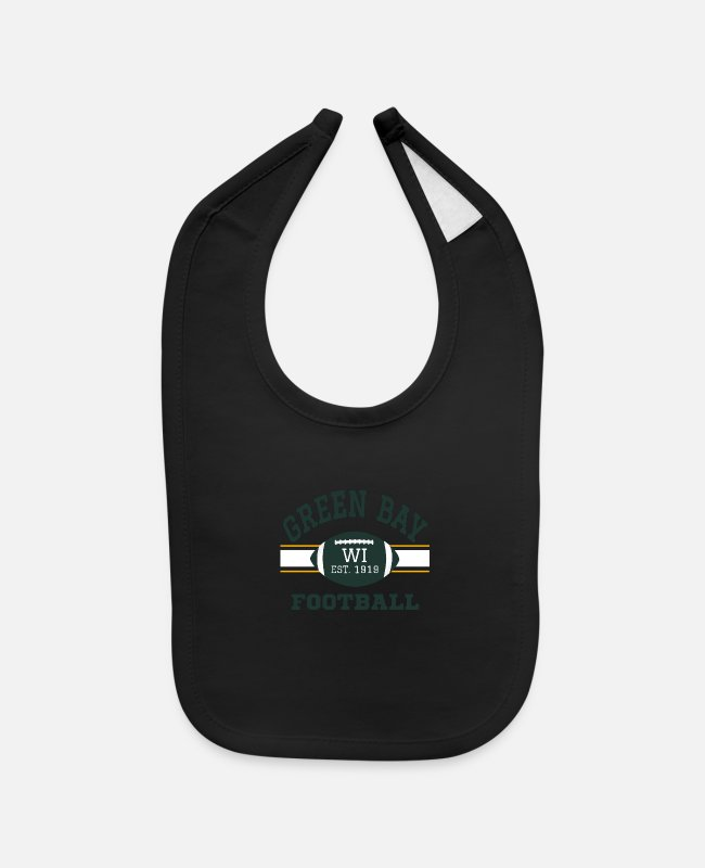 Game Ball Baby Bibs - Green Bay Football WI Vintage Sports Team Game Day - Baby Bib black