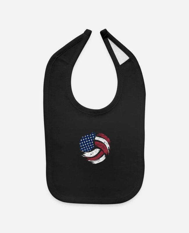 Ball Baby Bibs - Wash And Worn Fx Usa Volleyball Flag Ball Red Whit - Baby Bib black