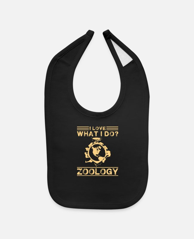 Zoology Baby Bibs - I Love What I Do Zoology Shirt - Baby Bib black