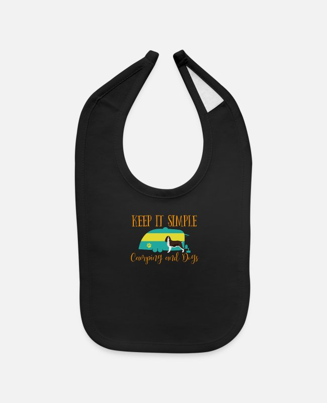 Baby Bibs - English Springer Spaniel Dog T-Shirt RV Camping - Baby Bib black