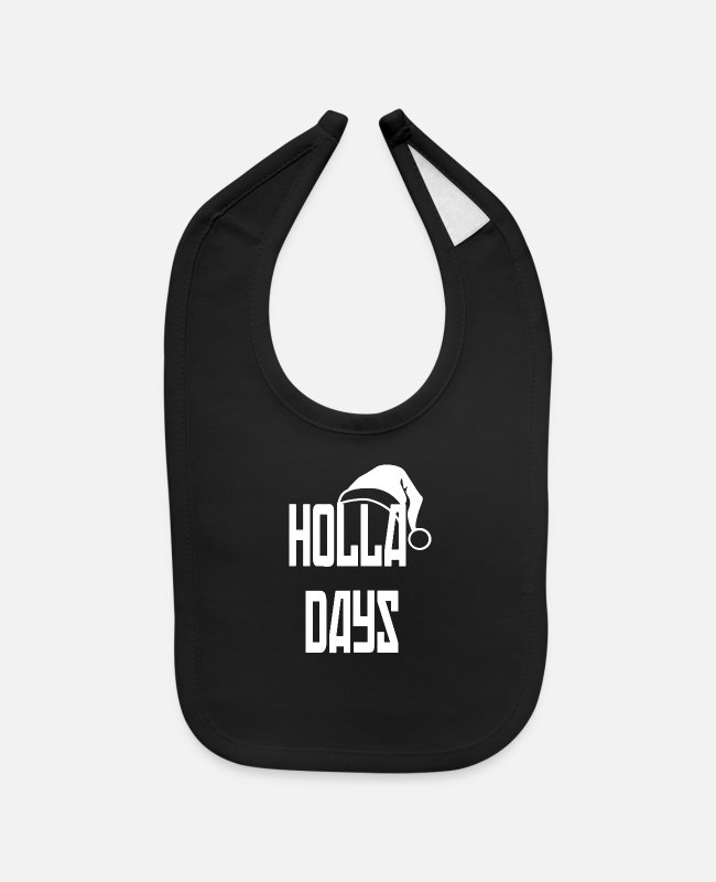 Black Metal Baby Bibs - holla days christmas gear snow cold black and whit - Baby Bib black