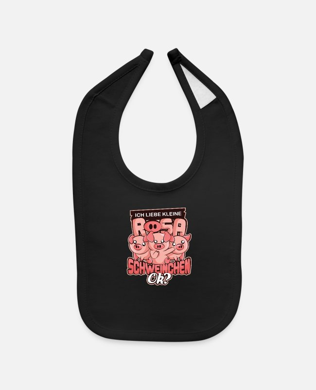Womens Baby Bibs - Gift for pig lover nice pig - Baby Bib black