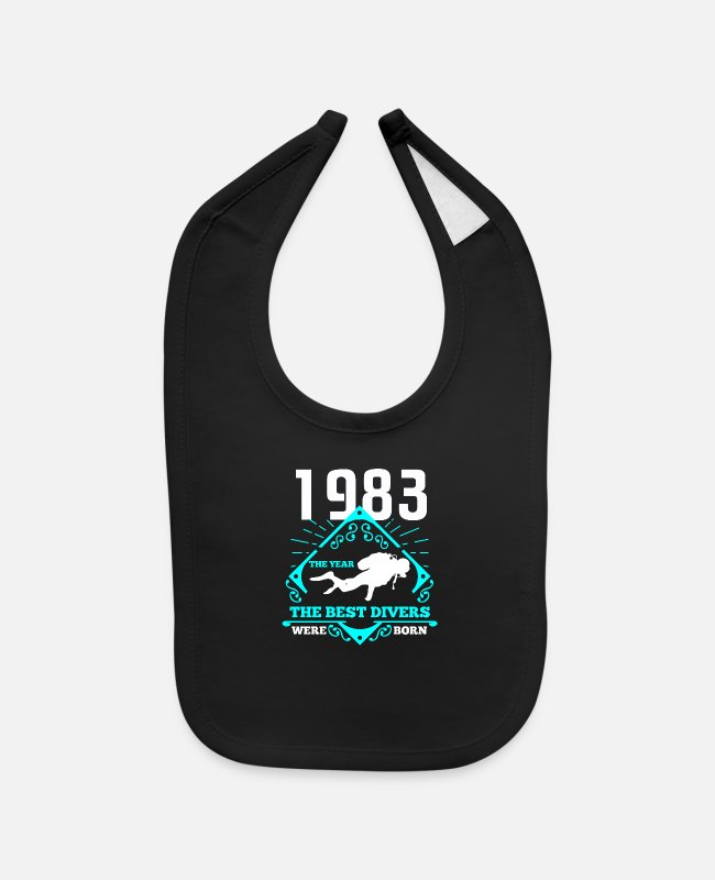 Scuba Diving Baby Bibs - Scuba Diving 1983 Birthday Present Diver Gift - Baby Bib black