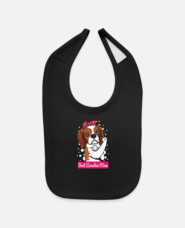 Quote Baby Bibs - Retro Cavalier King Charles Spaniel Dog Lover Mom - Baby Bib black